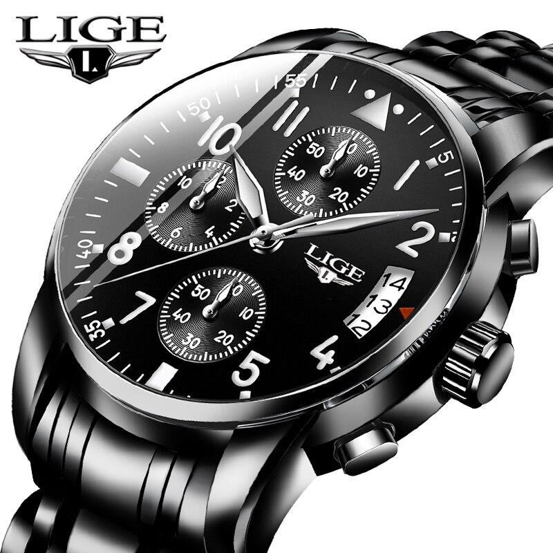 Где купить 2019 LIGE мужские часы Топ бренд Роскошные модные бизнес Кварцевые часы мужские спортивные все стальные водонепроницаемые черные часы erkek kol saati