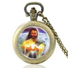 Высокое Качество Старинные Христианские Иисус Стеклянный Купол Кварцевые Карманные Часы Классический Мужчины Женщины Бронзовый Ожерелье Подарки