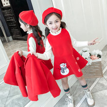 Teen Girls Clothing Set Winter Christmas Short Jacket Vest Dress Suit for Girls Clothes School Children Clothes Kids Tracksuit(China)