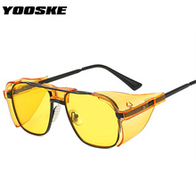YOOSKE Vintage Luxury Steampunk Sunglasses Men Quality with Side Shield