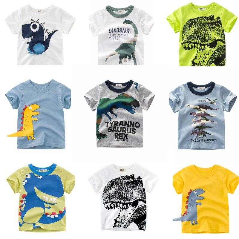 Футболки для мальчиков и девочек, футболка с мультяшным принтом динозавров для мальчиков, летняя хлопковая детская одежда, топы, футболка д...