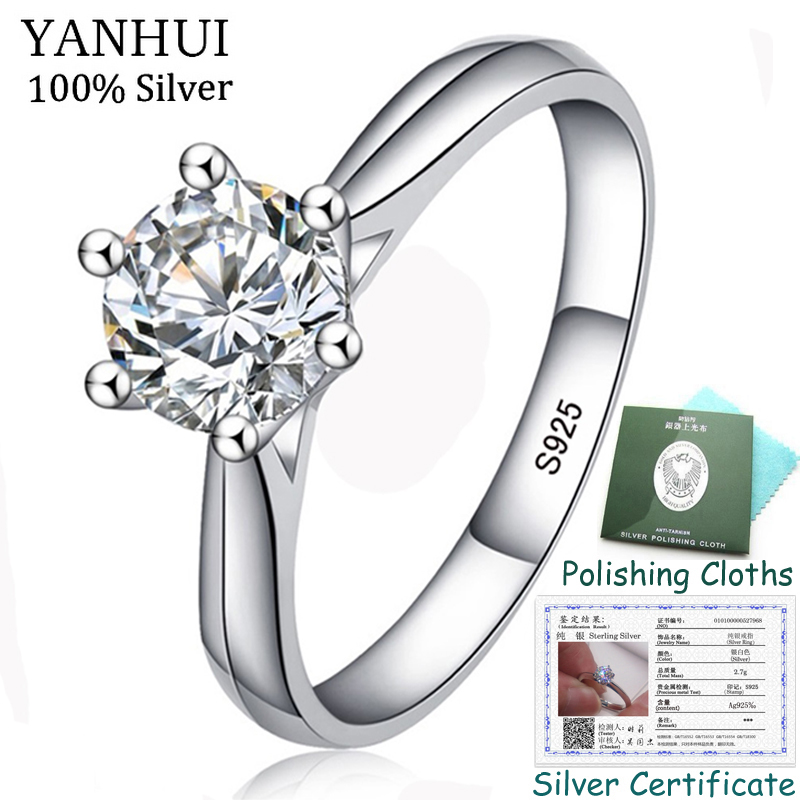 95% OFF! With Certificate Original 925 Solid Silver Wedding Ring Luxury 1ct 6mm CZ Zircon Engagement Rings Gift for Women ZR003