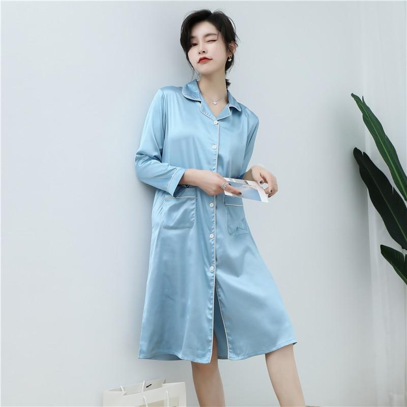 CAIYIER 2020 Silk Nightgown Sexy Lace Sleepwear Long Sleeve Turn-down Collar Night Dress Lingerie Bathrobe Gown Large Size M-3XL 13