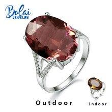 Bolaijewelry, anillos de zultanita gema de Plata de Ley 925 joyería fina hecha a mano cambio de Color diseño elegante regalo de calidad superior