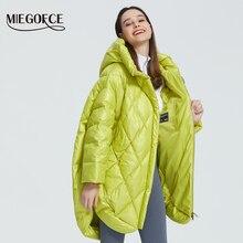 Miegofce casaco feminino com design de luxo, jaqueta feminina de cores brilhantes, casual, solto, quente, de grandes dimensões, gola inchada, 2020 capuz com capuz