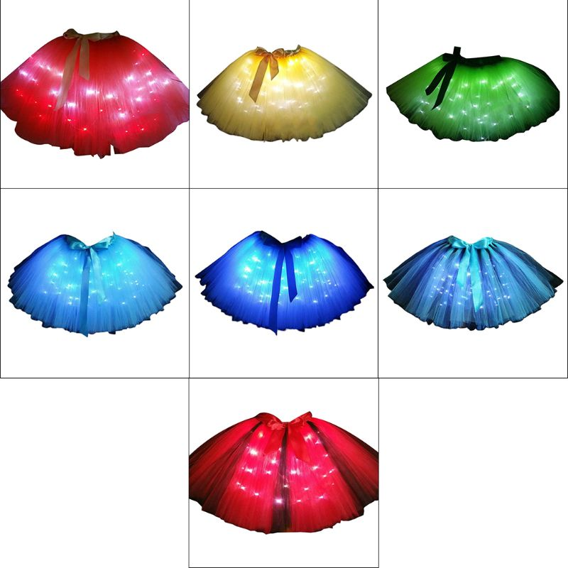 Women LED Light Up Ballet Dance Layered Tulle Tutu Skirt With Satin Ribbon Bow Festival Holiday Party Stage Dancing Wear 7 Color