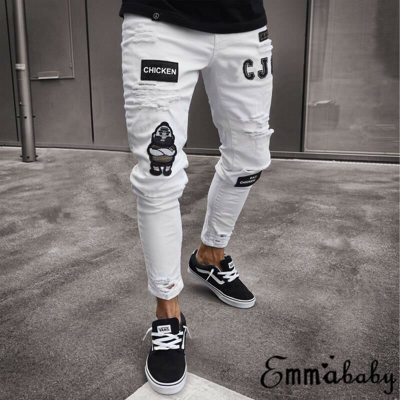 2 Styles Men Elastic Ripped Skinny Embroidery Jeans Printing Destroyed Hole Taped Slim Fit Denim Scratched High Quality Jeans
