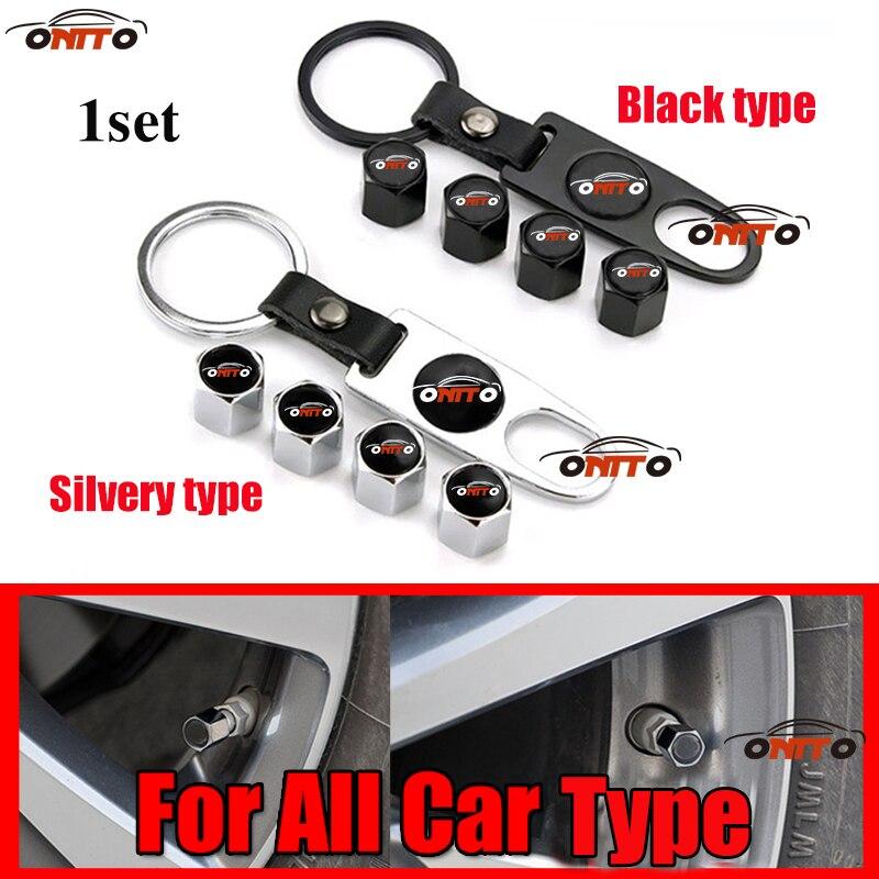For Bmw Audi Benz Kia Volvo Suzuki Nissan Car Logo Leather Metal Car Wheel Tire Valve Caps Covers Silvery/Black Type 1set