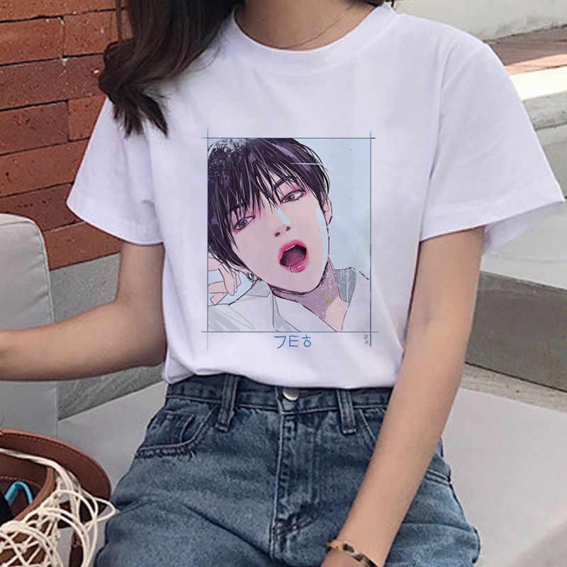 Bulletproofเยาวชนพิมพ์เสื้อยืดการ์ตูนHarajukuสุภาพสตรีเสื้อยืดJIN SUGA J HOPE JIMIN Vสาวการ์ตูนเสื้อยืด