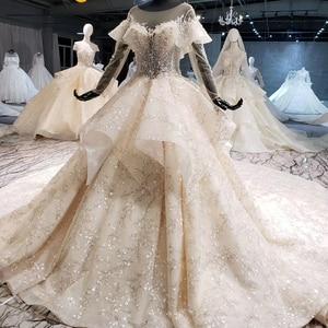 Image 3 - HTL1086 long sleeve wedding dress bohemian bead crystal shiny lace princess bridal dress wedding gown illusion платье свадебное