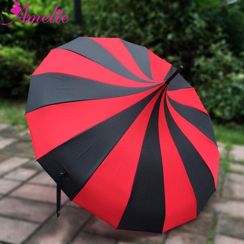 10 個送料無料ロリータゴシックスタイル王女の太陽の傘赤/黒ストライプパゴダ傘ウェディング日傘パラソル  グループ上の ホーム&ガーデン からの 傘 の中 1