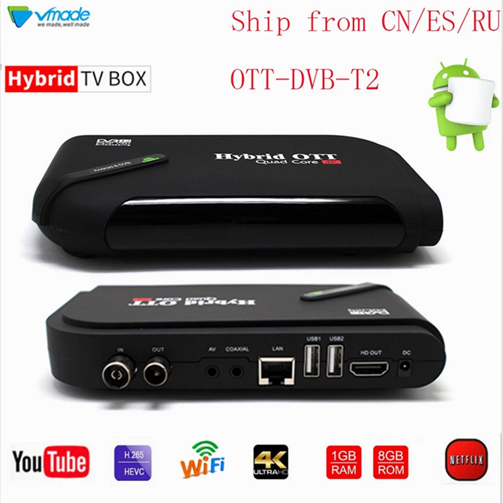 Android TV BOX 7.1 OS & DVB-T2 Combo Terrestrial TV Receiver TV Box 1GB 8GB Amlogic S905D Octa Core 1.5GHz  Smart Tv Box