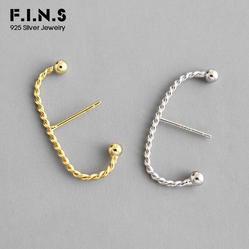 F.I.N.S Korean Fashion S925 Sterling Silver Earrings Two-tone Twist C Shaped Stud Earrings for Women Minimalist Fine Jewelry
