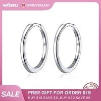 WOSTU authentique 925 en argent Sterling Simple cercle boucles d'oreilles pour lettre breloques bricolage boucles d'oreilles bijoux de mode CQP035