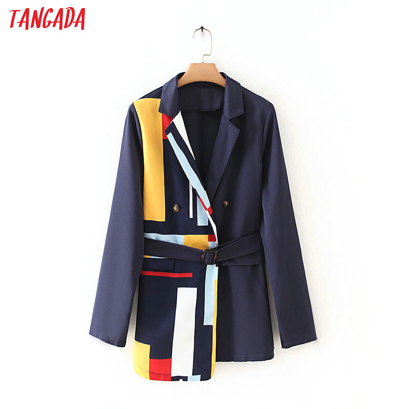 Tangada Korean Style Women Fashion Stripe Patchwork Blazer Pocket Elegant Office Lady Work Blazer Suit  7Y02
