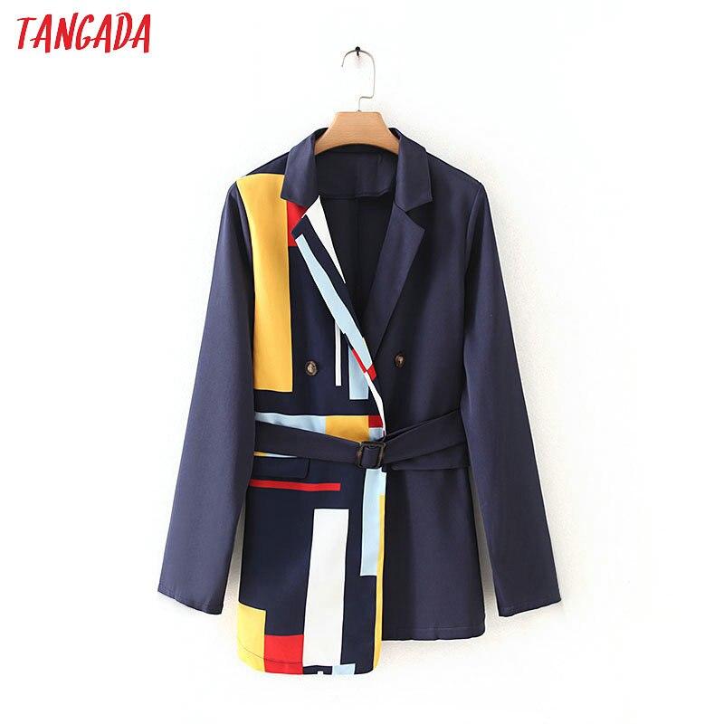 Женский блейзер в полоску Tangada, элегантный офисный блейзер в Корейском стиле с карманами, 7Y02|Пиджаки|   | АлиЭкспресс