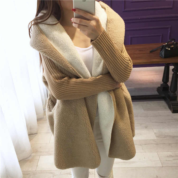 سترة النساء سترة مقنعين جيب سميكة موضة جديدة الخريف ساحات كبيرة طويلة ملابس الشتاء فضفاضة غير رسمية النساء Vestidos LXJ894