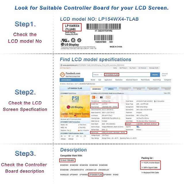 Latumab Nouveau LCD LED LVDS Carte Contrôleur kit de Tournevis pour LTN141W1-L04 HDMI + DVI + VGA 14.1 1280 × 800 30 pins