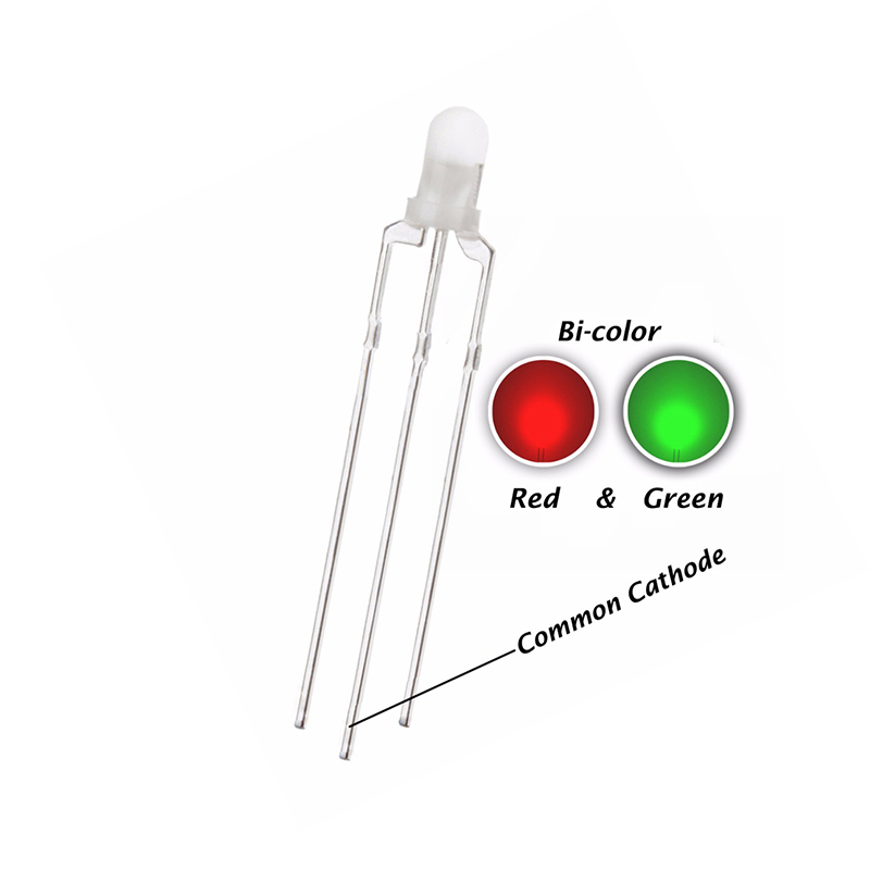 100PCS 3MM Diffused LED RED & GREEN Double Color DIP Common Cathode LED Indicate Light