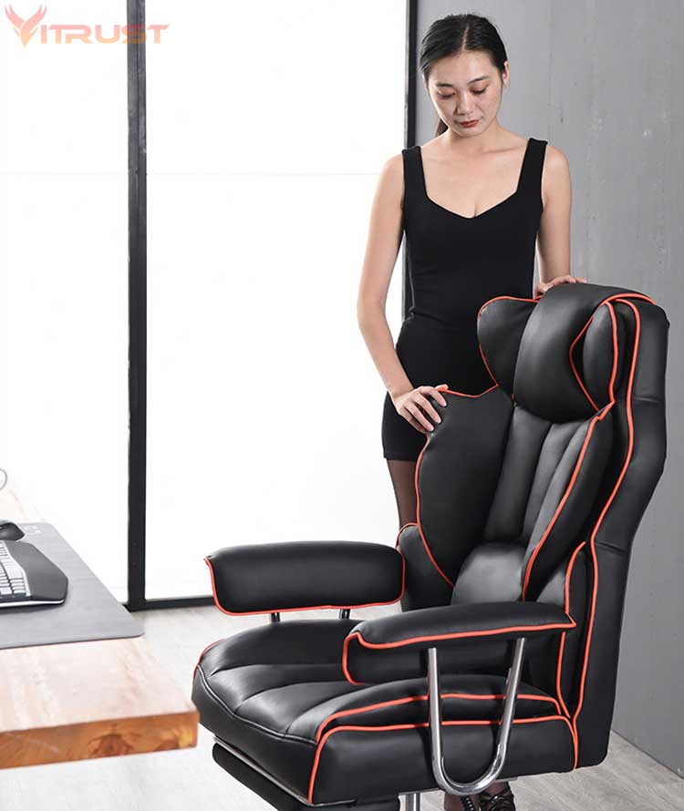 High Back Computer Desk Chair With Adjustable Angle Recline And Seat Height Thick Padding For Comfort And Ergonomic Design