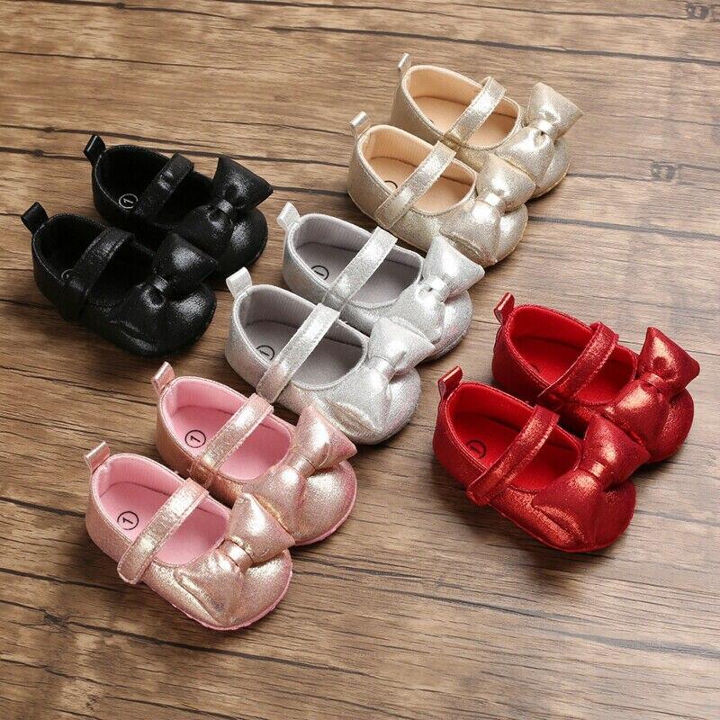Shoes Moccasin Prewalker Soft-Sole Toddler Baby Bling Newborn-Girl Princess Crib Bowknot