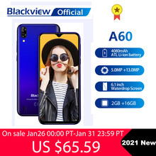 Blackview 2021 Nieuwe A60 2Gb + 16Gb Smartphone 4080Mah Android 10 Cellphone 6.1