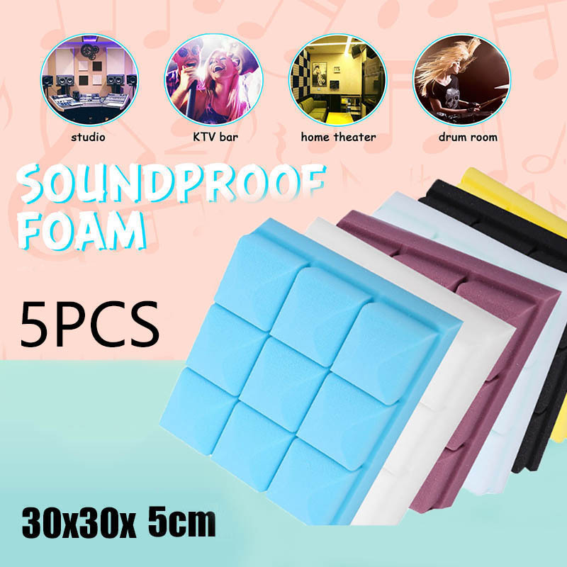 5 Pcs Acoustic Soundproof Foam Sound Absorbing Panel for Home Studio KTV 30x30cm DTT88|Cabinet Bumpers| |  - title=
