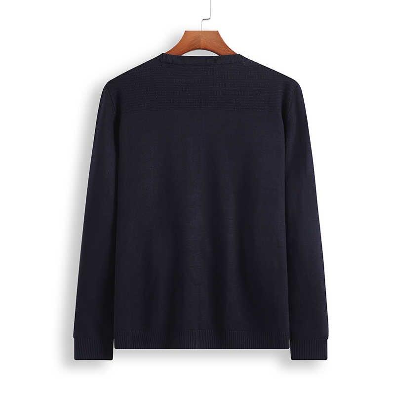 8XL 6XL 5XL 4XL 스웨터 남자 새 도착 캐주얼 풀 오버 남자 가을 라운드 목 패치 워크 품질 니트 브랜드 남성 스웨터
