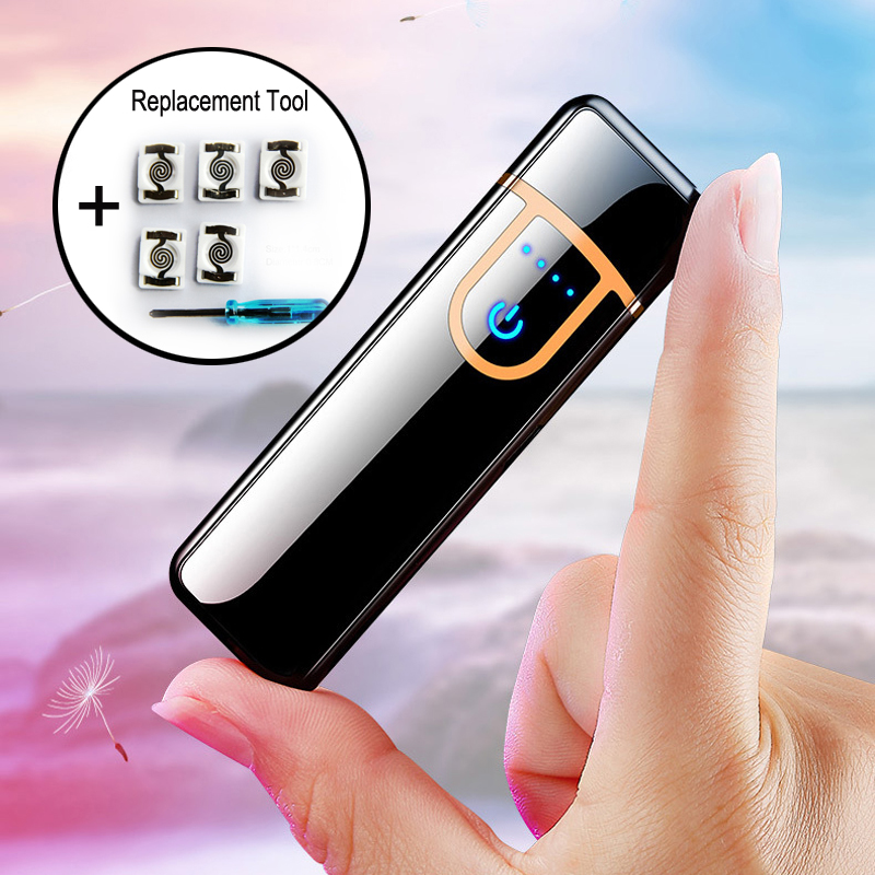Hot sale USB Metal Charging Lighter windprood electronic lighters Touch sensitive for men gadgets cigarette Smoking Accessories|Cigarette Accessories| |  - title=