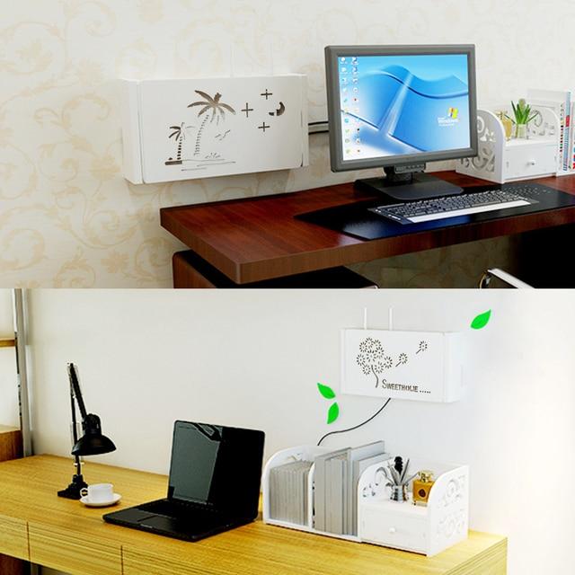 Wireless Wifi Router Storage Box PVC panel Shelf Wall Hanging Plug Board Bracket Cable Organizer Home Decor 3 Sizes 5