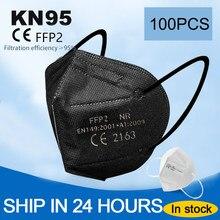 100 pçs preto e branco ffp2 máscara 5 camadas ce fpp2 máscara máscara de poeira fpp2 kn95 máscara protetora mascarillas fpp2 homólogo reutilizável