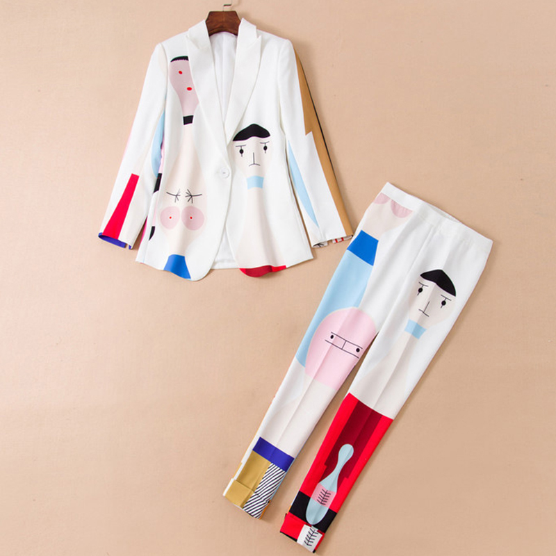 New Designer High Quality women suits White Two-piece Suit One Button Jacket Blazers Pants Abstract Art Dyeing Suit Women