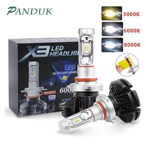 Image 1 - PANUDUK автомобильный светильник зэс H4 светодиодный H7 H11 3000K 6000K 8000K HB3 9005 HB4 9006 светодиодные лампы для автомобильных фар светодиодный головной светильник s лампочки 50 Вт 6000LM фары авто X3