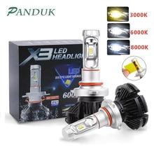 PANUDUK araba işık ZES H4 LED H7 H11 3000K 6000K 8000K HB3 9005 HB4 9006 araba LED farlar ampuller 50W 6000LM far oto X3