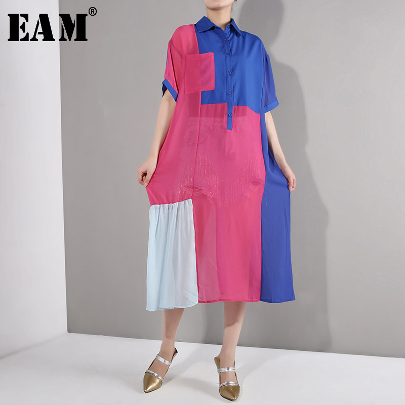 [EAM] 2020 New Spring Summer Lapel Half Sleeve Hit Color Loose Pocket Big Size Long Perspective Dress Women Fashion Tide WG9071