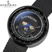 BOBO BIRD reloj hombre Ball Bearing Quartz Stainless Steel Wristwatch 360 Degree Rotation Luxury Men Timepiece with Skull Face(China)
