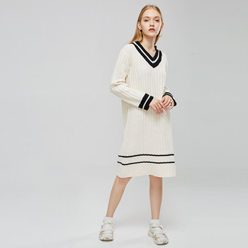 цена на Pullover V-Neck Long Sleeve Color Block Knit Dress Sweater Straight Young Women Spring New Office Lady Casual Simple Preppy