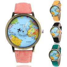 World Map Pattern Designed Unisex Retro Faux Leather Strap Round Dial Quartz Wrist Watch