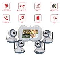 цены 7 inch 2.4GHz wireless digital lcd 2 multi-cameras baby monitor with motion detection VOX night vision intercom DVR movement