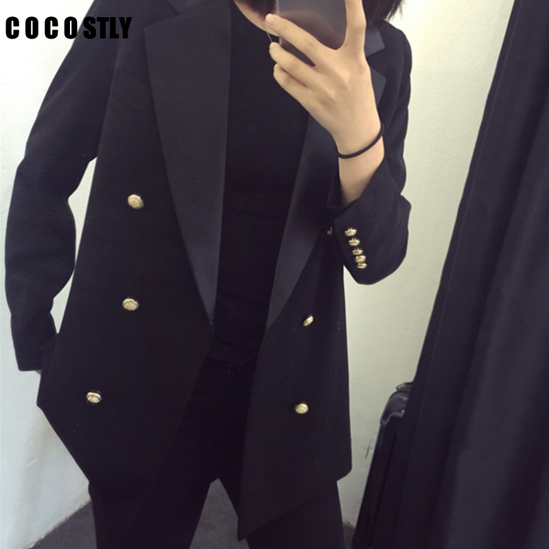 Koreas Blazer Women New Arriva Loose Blazer Temperament Gold Double Breasted Full Sleeve Work Office Lady Suit Jacket Plus Size