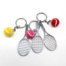 Creative Mini Tennis Tennis Racket Keychain Exquisite Metal Tennis Racket Key ring Fun Mini Pendant personality double tennis racket necklace