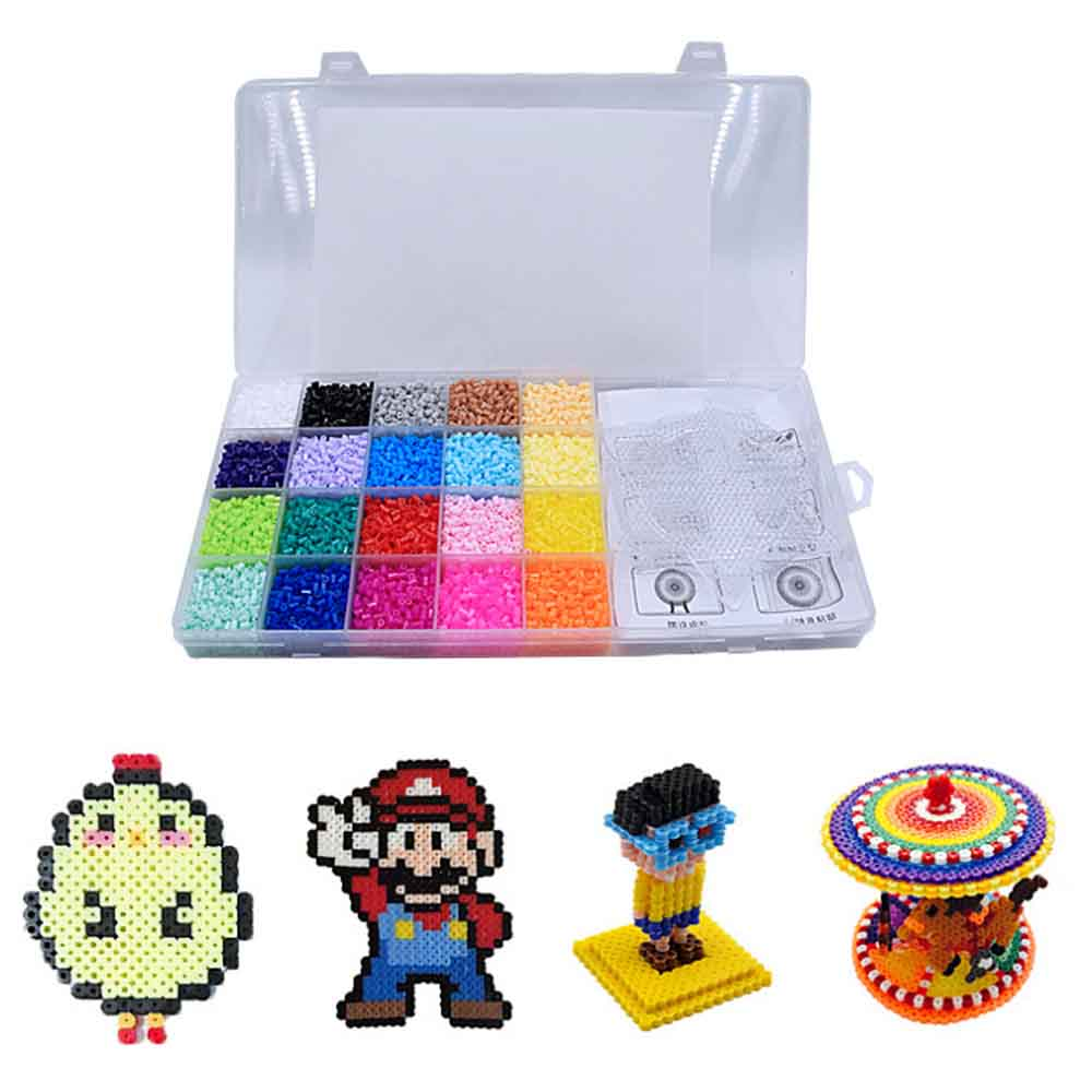 13000pcs Fuse Perler Hama Beads Refill Pack 24 Colors Case Kids Crafts
