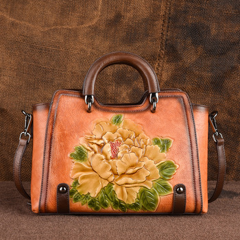 2020 New Retro Genuine Cowhide Leather Women Bag Large Capacity Casual Handbag For Women Embossed Floral Shoulder&Crossbody Bags women hand bag genuine leather large envelope 2017 new multi function crossbody bags for women evening clutch bags