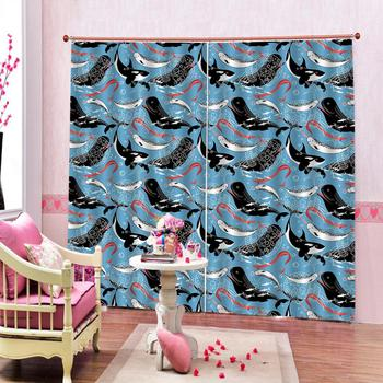 dolphin Luxury Blackout 3D Window Curtain For Living Room blue curtains cartoon curtains kids curtain