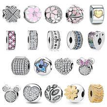 Novo clipe charme grânulos pingente para caber encantos originais pulseiras de prata esterlina 925 original pulseira colar jóias fazendo diy