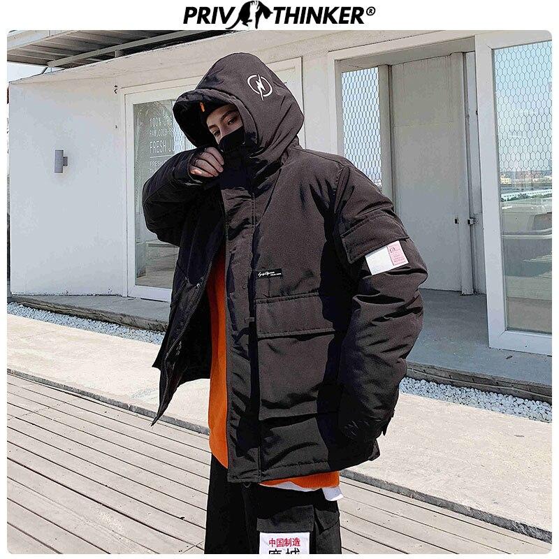 Privathinker Men 2019 Winter Big Pockets Hooded Sports Windbreaker Parkas Mens Loose Thick Warm Coat Jacket Male Fashion Clothes