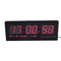 48cm cyfrowa ściana zegar duży LED czas kalendarz temperatura biurko zegary stołowe LED zegar ścienny ue wtyczka