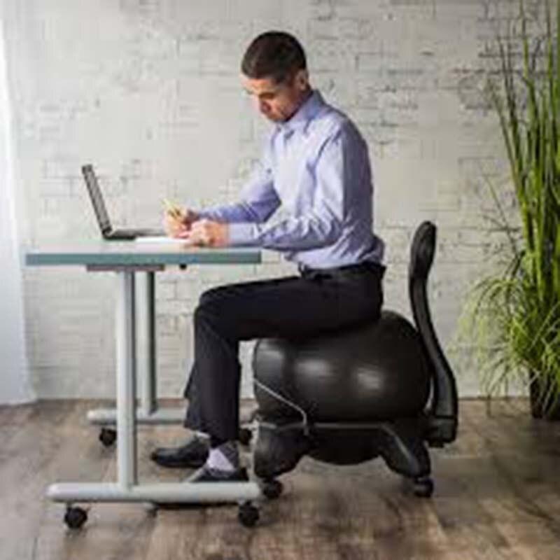 gaiam Chaise de Bureau r/églable avec Ballon de Yoga de 55 cm Pompe de gonflage et Guide dexercices pour la Maison ou Le Bureau