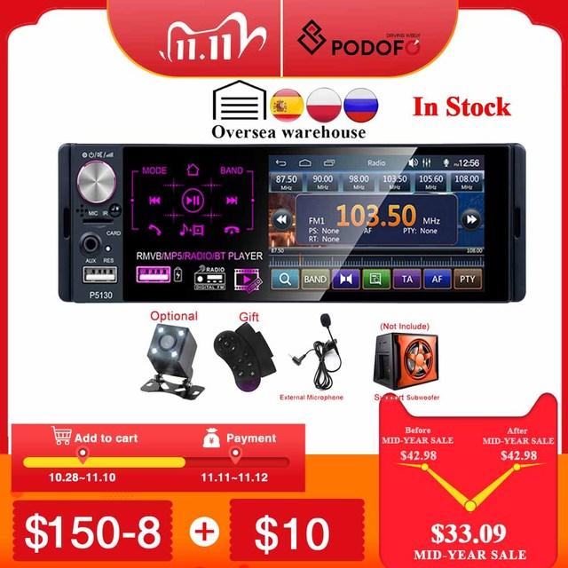 """Podofo RDS Auto Radios 4.1 """"Touch Screen Multimedia MP5 Player Auto Stereo Radio Bluetooth Unterstützung Micophone und Rückansicht kamera"""