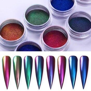 Camaleónica Espejo, uñas con purpurina en polvo las Auroras manicura efecto cromo pigmento polvo de uñas decoración arte de uñas